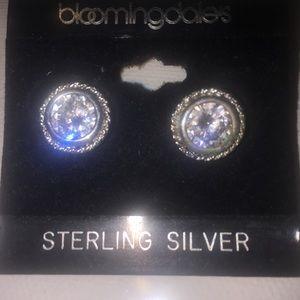 Bloomingdale's Sterling silver cz stud earrings n